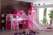 Hochbett Spielbett Buche massiv Weiss Turm Rutsche Schrägleiter pink rosa Herz