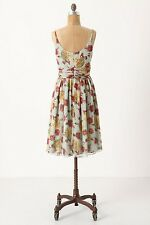 NWT Anthropologie Anna Sui Rose And Hortensia Silk Dress Size 4