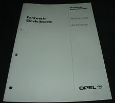 Werkstatthandbuch Opel Fahrwerk Einstellwerte Alle Modelle ab Modelljahr 2000!