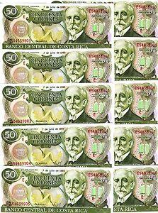 LOT, Costa Rica, 10 x 50 Colones, 7-7-1993, P-257 UNC -> the last