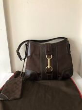 COACH HAMPTON SIGNATURE LEATHER TRIM BROWN BAG WITH MINI WALLET, FREE SHIPPING!