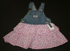 New OshKosh Girls Jumper Dress Layered Floral Pink Skirt...