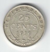 NEWFOUNDLAND 1919C 25 CENTS KING GEORGE V STERLING SILVER CANADIAN COIN