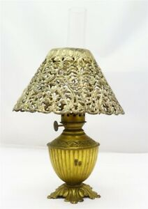 Early Antique Brass Miniature Oil Lamp w/ Filigree Shade