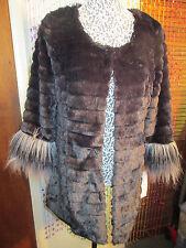 Super Fun Faux Fur longer jacket size L,black w/mink effect&longer hair at cuffs