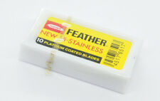 FEATHER HI STAINLESS RAZOR BLADES - PACK OF TEN - BRAND NEW & SEALED!