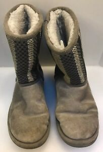 UGG Australia Women 6 US Classic Short Woven Suede Boots Gray S/N 1010551