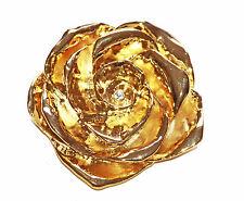 Luccicano Oro Metallo Camellia con raffinato diamante BUD OCCASIONE Spilla (zx4/48)
