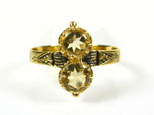 Victorian 14k Yellow Gold Sterling Silver Natural 1ctw Double Citrine Ring I055C