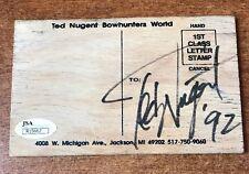 TED NUGENT SIGNED WOOD POSTCARD TED NUGENT BOWHUNTERS WORLD JSA COA