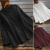 Women Buttons Oversized Loose Solid Tops Shirt Long Sleeve Blouse Tee T-Shirt US