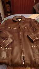 RARE WESTERN JACKET 3/4 1950 VINTAGE  A FRANGE CUIR MARRON TAILLE L. M IN USA