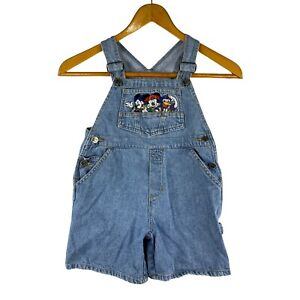 VTG 90's Disney Overall Shorts Mickey Minnie Mouse Donald Hip-Hop Shortalls Sz 6