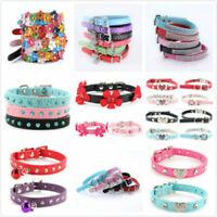 Multi-Styles Adjustable Pet Dog PU Leather Collar Puppy Cat Buckle Neck Strap US