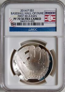 2014 P Silver Baseball Hall of Fame Proof Dollar NGC PF70 Early Releases