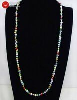 """Long 40"""" Multicolor Baroque 6-7mm Natural Freshwater Pearl Necklace for Women"""