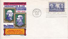 POSTAL HISTORY-1949 FDC 200TH ANNIVERSARY WASHINGTON & LEE UNIVERSITY CACHET CRA