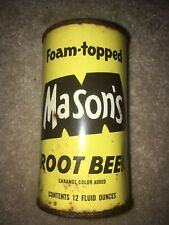 Antique Mason's Root Beer soda can from Chicago, Il.