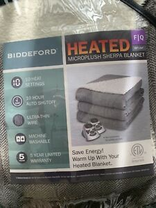 Biddeford Microplush Sherpa Heated Electric Blanket Full/Queen Gray Herringbone