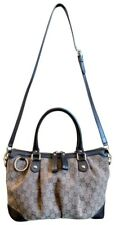 Authentic GUCCI Sukey Medium Top Handle Brown GG Tweed Canvas Leather Bag 247902