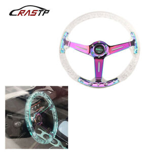 """Neo Chrome Transparent Colorless Acrylic 350mm/14"""" Racing Sports Steering Wheel"""