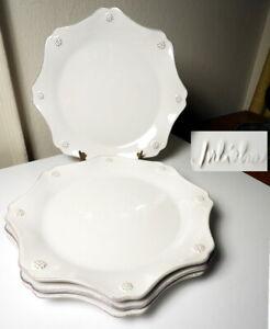 Juliska BERRY & THREAD Whitewash Scalloped Salad Plates, Set of 4, UNUSED/ MINT