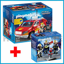 NEW PLAYMOBIL 5364 + 5366 COMBO LIGHT & SOUND FIRE CHIEF's CAR + RESCUE CREW