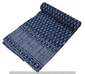 New Indien Cotton Handmade Ralli Kantha Quilt Twin Size Bedspread Throw Blanket