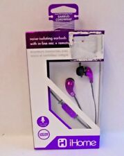 iHome  Metal Earbuds with Mic and Remote Noise Isolating Bluetooth Purple New