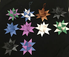 FROEBEL Moravian STARS Handmade ORNAMENTS 4 Inches Blue Purple Gold SET OF 10