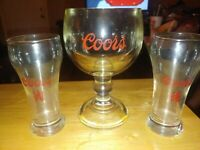 vintage coors beer glasses lot of 3