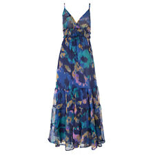 New Ladies Strappy Maxi Dress - Summer Beach Dress - M/L - Purple Blue Lined