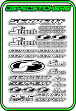 RC STICKERS MODEL CAR SERPENT RACING BRUSHLESS F1 1/10 DRIFT 1/8 BUGGY WHITE B