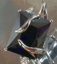 925 STERLING SILVER purple and  clear CZ CHARM PENDANT 10mm x 13mm
