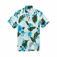 Men Tropical Hawaiian Aloha Shirt Cruise Luau Beach Party White Blue Hibuscus