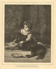Child, Dog, The Fair Beauty And The Dark One, Vintage 1874 Antique Art Print