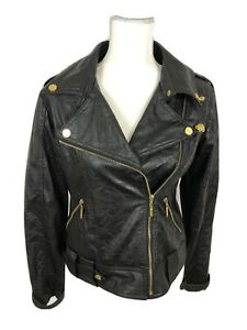Dereon Moto Women's Jacket - Size M/M- Black  with Gold Charms Gold Zipper