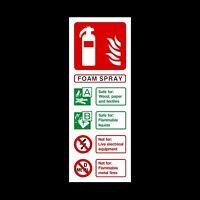 Fire Extinguisher Foam Spray ID Card Plastic Sign OR Sticker 200x75mm (FE29)