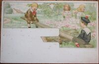 Art Nouveau 1904 Postcard: Children Playing w/Seesaw - Color Litho