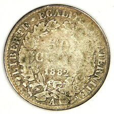 1882-A FRANCE 50 CENTIMES SILVER - PRICED RIGHT!
