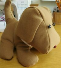 Soft toy puppy in camel coloured wool/cashmere and satin. Hand made