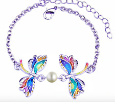 Colorful Dragonfly Bracelet ~ Insect Animal Charms Enamel Jewellery Faux Pearl