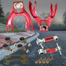 RED FRONT UPPER ARMS + FCK BUSHING KIT + REAR CAMBER KIT 1994-2001 ACURA INTEGRA