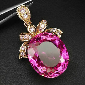 TOPAZ PLATINUM PINK OVAL 41.80 CT.SAPPHIRE 925 STERLING SILVER ROSE GOLD PENDANT