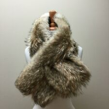 Coach 83113 Real Natural Coyote Fur Pass Through Neck Scarf Collar Accessory