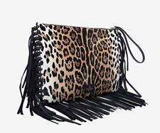 VALENTINO LEOPARD PRINT CALF HAIR FRINGE CLUTCH BAG