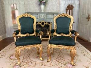 Vintage Miniature Dollhouse Artisan PAIR Clay Chair Gold Gilt Dark Green Ornate