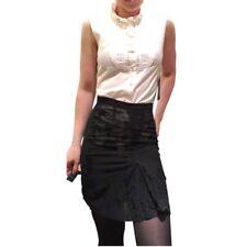 D&G Black Sheer Velvet Embroidered Straight Skirt Size IT 46 fits like US 6 8