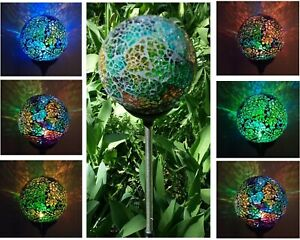 Solar Mosaic Glass Ball Garden Stake Color Change LED Light Outdoor Yard Decor