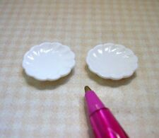 "Miniature Pair of White Plastic Victorian Plates, 5/8"" Diameter: DOLLHOUSE 1:12"
